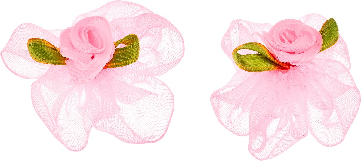Резинка для животных Каскад Цветок, цвет: розовый, зеленый, диаметр 3 см, 2 шт игрушка для животных каскад мяч мина резиновый цвет красный 10 см