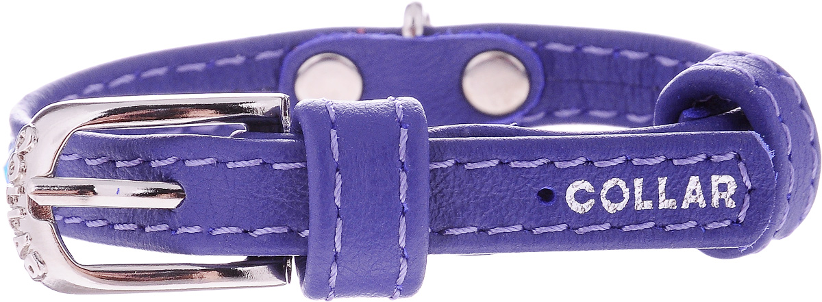 Ошейник для собак CoLLaR Glamour, цвет: фиолетовый, ширина 9 мм, обхват шеи 18-21 смро35кОшейник CoLLaR Glamour изготовлен из кожи, устойчивой к влажности и перепадам температур. Клеевой слой, сверхпрочные нити, крепкие металлические элементы делают ошейник надежным и долговечным. Изделие отличается высоким качеством, удобством и универсальностью.Размер ошейника регулируется при помощи металлической пряжки. Имеется металлическое кольцо для крепления поводка. Ваша собака тоже хочет выглядеть стильно! Модный ошейник, декорированный стразами, станет для питомца отличным украшением и выделит его среди остальных животных. Минимальный обхват шеи: 18 см. Максимальный обхват шеи: 21 см. Ширина: 9 мм.