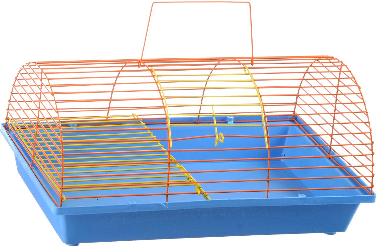 Клетка для грызунов ЗооМарк, цвет: голубой поддон, оранжевая решетка, 36 х 23 х 17,5 см. 110ж12171996Клетка ЗооМарк, выполненная из полипропилена и металла, подходит для грызунов. Она имеет яркий поддон, удобна в использовании и легко чистится. Клетка оснащена вторым ярусом с лесенкой, выполненных из металла.Такая клетка станет уединенным пространством и уютным домиком для маленького грызуна.