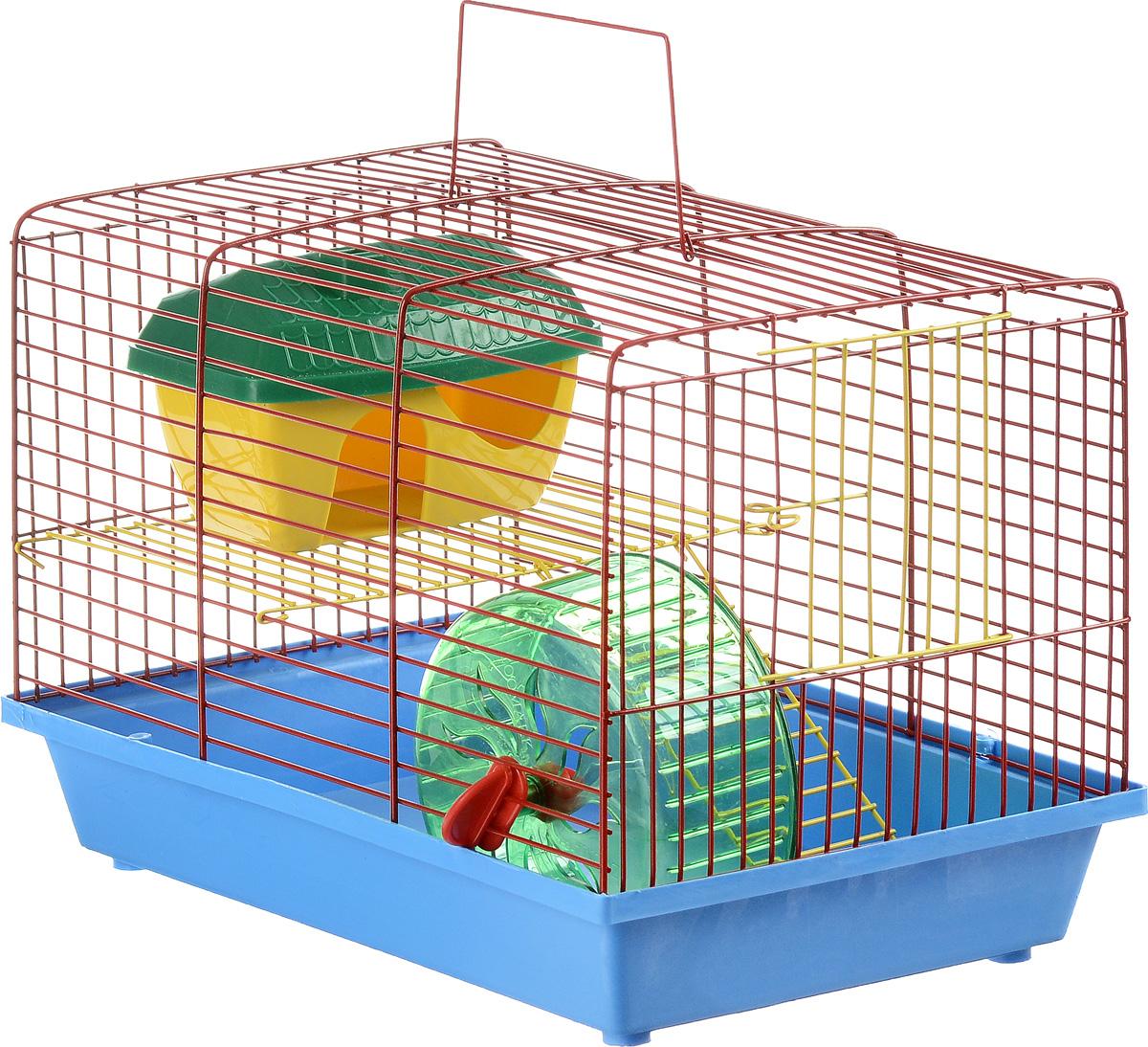 Клетка для грызунов ЗооМарк, 2-этажная, цвет: голубой поддон, красная решетка, желтый этаж, 36 х 22 х 24 см0120710Клетка ЗооМарк, выполненная из полипропилена и металла, подходит для мелких грызунов. Изделие двухэтажное, оборудовано колесом для подвижных игр и пластиковым домиком. Клетка имеет яркий поддон, удобна в использовании и легко чистится. Сверху имеется ручка для переноски, а сбоку удобная дверца. Такая клетка станет уединенным личным пространством и уютным домиком для маленького грызуна.