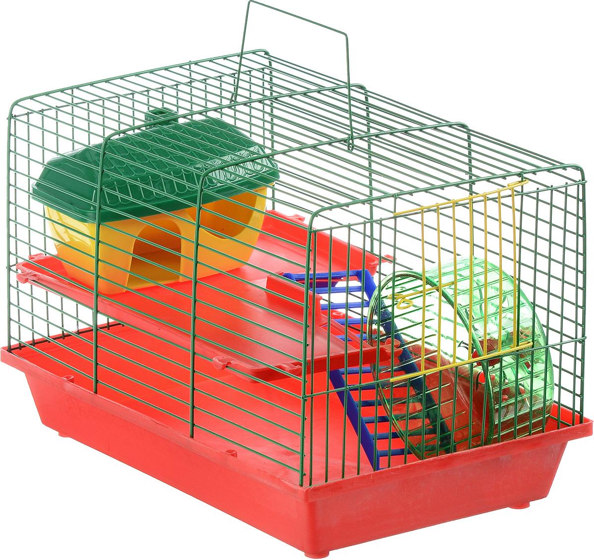 Клетка для грызунов ЗооМарк, 2-этажная, цвет: красный поддон, зеленая решетка, красные этажи, 36 х 23 х 24 смВТсКлетка ЗооМарк, выполненная из полипропилена и металла, подходит для мелких грызунов. Изделие двухэтажное, оборудовано лестницей, колесом для подвижных игр и пластиковым домиком. Клетка имеет яркий поддон, удобна в использовании и легко чистится. Сверху имеется ручка для переноски. Такая клетка станет уединенным личным пространством и уютным домиком для маленького грызуна.