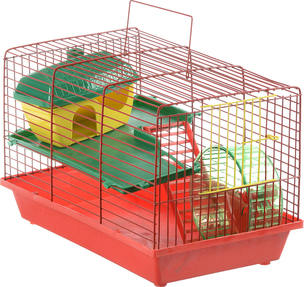 Клетка для грызунов ЗооМарк, 2-этажная, цвет: красный поддон, красная решетка, зеленый этаж, 36 х 23 х 24 см1542DDКлетка ЗооМарк, выполненная из полипропилена и металла, подходит для мелких грызунов. Изделие двухэтажное, оборудовано колесом для подвижных игр и пластиковым домиком. Клетка имеет яркий поддон, удобна в использовании и легко чистится. Сверху имеется ручка для переноски, а сбоку удобная дверца. Такая клетка станет уединенным личным пространством и уютным домиком для маленького грызуна.