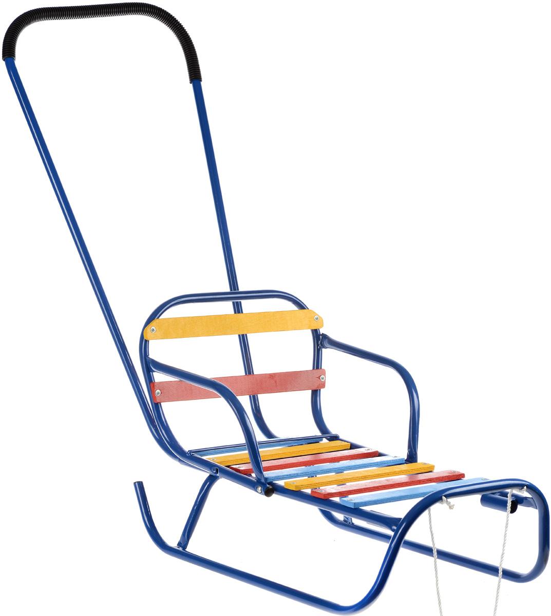 Санки-трансформер, со съемным толкателем и спинкой, цвет: синий. З-1145.08Пл-С90Санки-трансформер, со съемным толкателем и спинкой, цвет: синий. З-1145.08