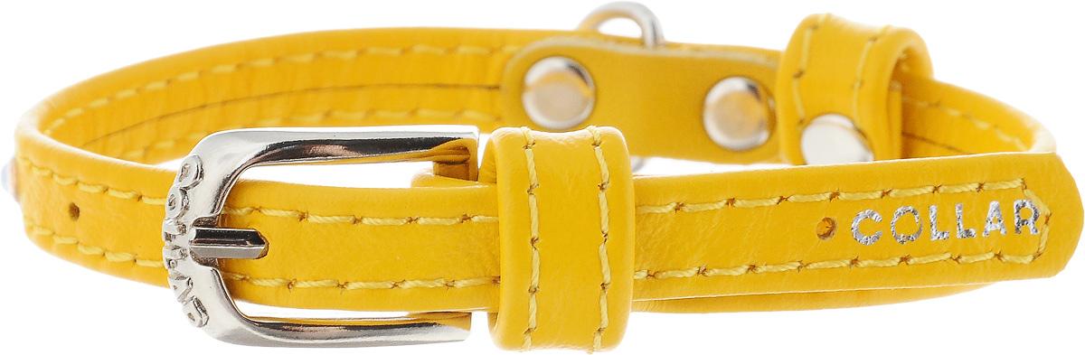 Ошейник для собак CoLLaR Glamour, цвет: желтый, ширина 9 мм, обхват шеи 19-25 смDM-160133-4Ошейник CoLLaR Glamour изготовлен из кожи, устойчивой к влажности и перепадам температур. Клеевой слой, сверхпрочные нити, крепкие металлические элементы делают ошейник надежным и долговечным. Изделие отличается высоким качеством, удобством и универсальностью.Размер ошейника регулируется при помощи металлической пряжки. Имеется металлическое кольцо для крепления поводка. Ваша собака тоже хочет выглядеть стильно! Модный ошейник, декорированный стразами, станет для питомца отличным украшением и выделит его среди остальных животных. Минимальный обхват шеи: 19 см. Максимальный обхват шеи: 25 см. Ширина: 0,9 см.