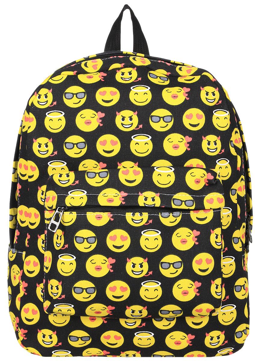 Рюкзак Kawaii Factory Smile, цвет: черный, желтый. KW102-000231INT-06501Оригинальный рюкзак Smile от Kawaii Factory- идеальное сочетание креативного дизайнерского подхода и простоты исполнения. Модный рюкзак со смайлами, удобный и функциональный, сшит из прочного материала. В нем есть все, что нужно - одно основное отделение, закрывающееся на застежку-молнию, один внутренний накладной карман, а также карман на молнии на передней части рюкзака. Благодаря отличной эргономичности прогулочный рюкзак будет практически невесомым на вашей спине. Простой, но в то же время стильный- он определенно выделит своего обладателя из толпы и непременно поднимет настроение. А яркий современный дизайн, который является основной фишкой данной модели, будет радовать глаз. Данный рюкзак можно носить как на учебу, так и на прогулки.