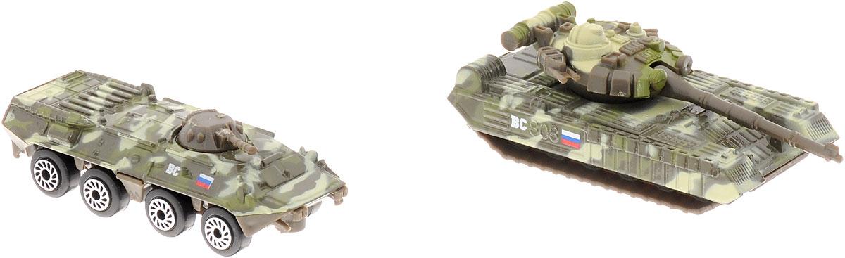ТехноПарк Набор машинок Военная техника 2 шт машинки технопарк набор из 2 х металлических моделей технопарк военная техника