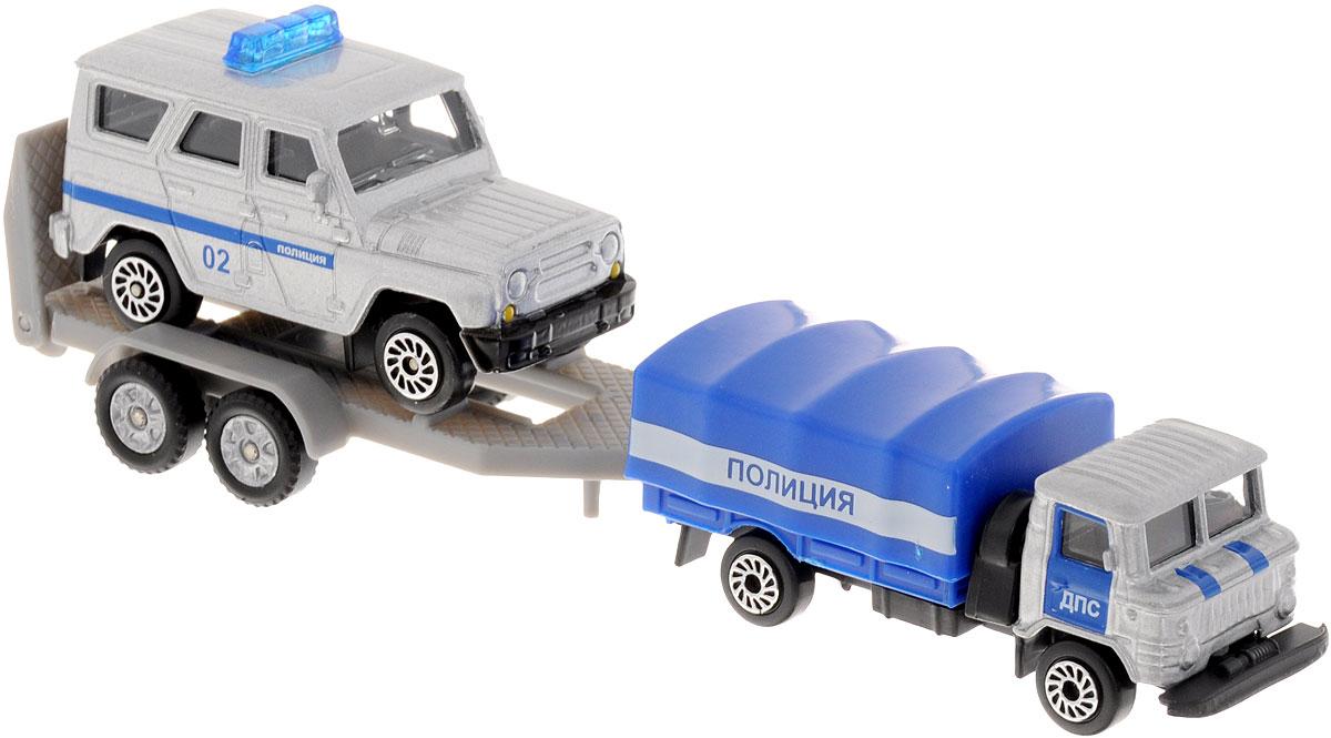 ТехноПарк Набор машинок Полиция с прицепом 2 шт технопарк набор машинок экскаватор и самосвал с прицепом