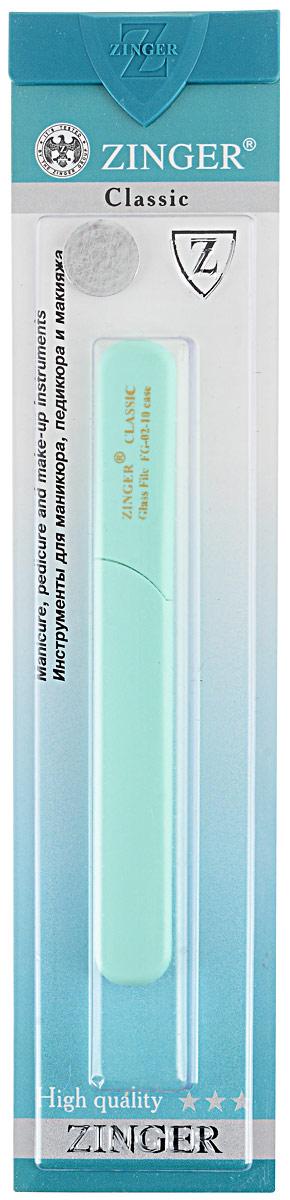 Zinger Пилка для ногтей zo-FG-02-10-Case, двусторонняя, стеклянная, цвет: ментоловыйFMS-103Стеклянная двусторонняя пилочка Zinger zo-FG-02-10-Case не травмирует ногтевую пластину и подходит для ногтей любого вида, твердости и натуральности. Она изготовлена из высококачественного стекла и дополнена практичным пластиковым футляром с крышкой. Работа с ней доставляет приятные ощущения, особенно для ногтей с повышенной чувствительностью. Она также может применяться для обработки огрубевшей кожи вокруг ногтя.Возможна санитарная обработка.Товар сертифицирован.