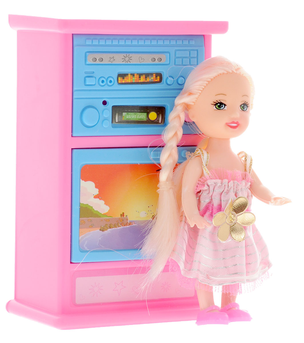 Shantou Игровой набор с мини-куклой Bettina со шкафом и телевизором