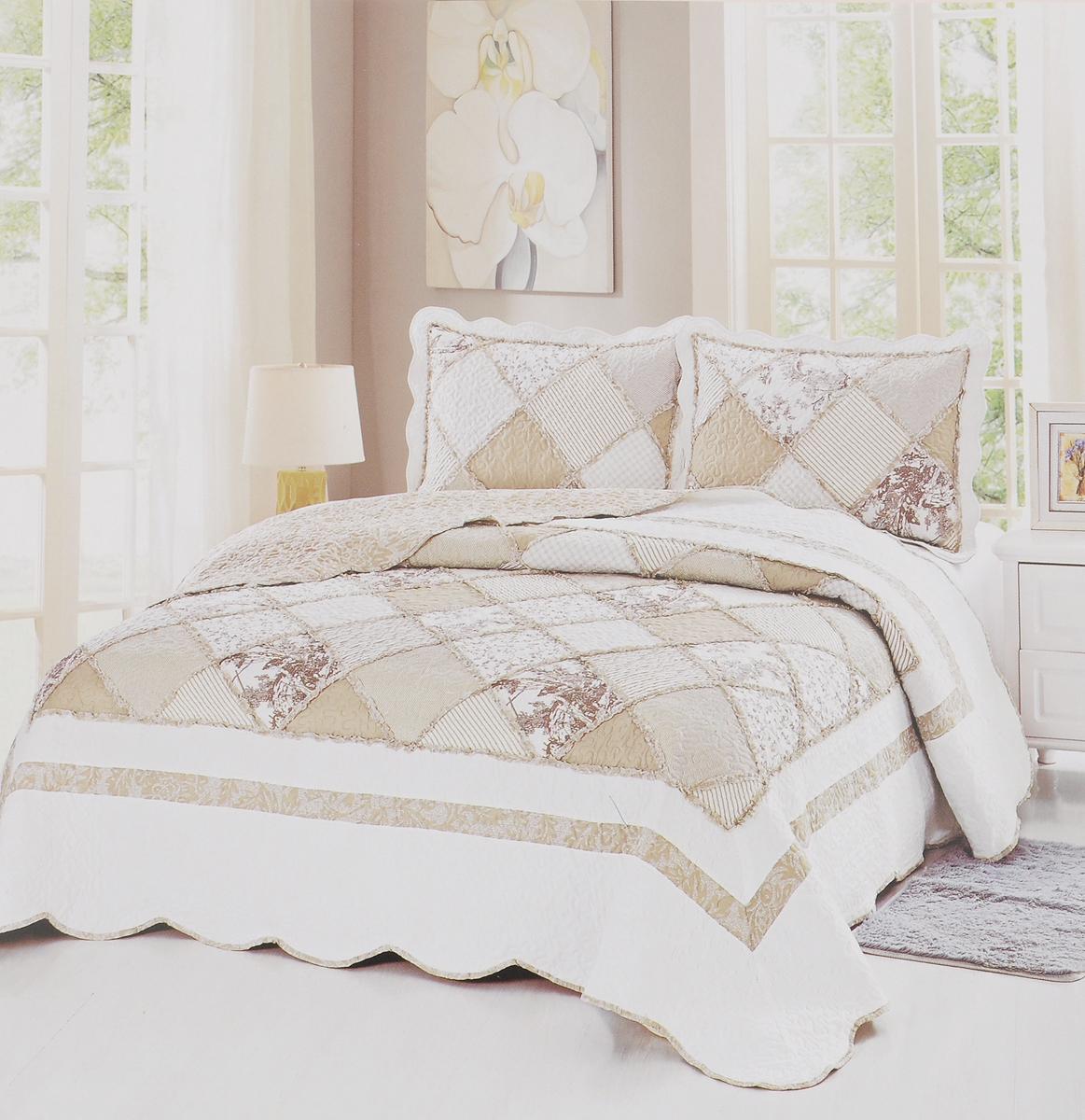 Комплект для спальни Karna Modalin. Пэчворк: покрывало 230 х 250 см, 2 наволочки 50 х 70 см, цвет: белый, коричневый, бежевый531-301Изысканный комплект Karna Modalin. Пэчворк прекрасно оформит интерьер спальни или гостиной. Комплект состоит из двухстороннего покрывала и двух наволочек. Изделия изготовлены из микрофибры. Постельные комплекты Karna уникальны, так как они практичны и универсальны в использовании. Материал хорошо сохраняет окраску и форму. Изделия долговечны, надежны и легко стираются.Комплект Karna не только подарит тепло, но и гармонично впишется в интерьер вашего дома. Размер покрывала: 230 х 250 см.Размер наволочки: 50 х 70 см.