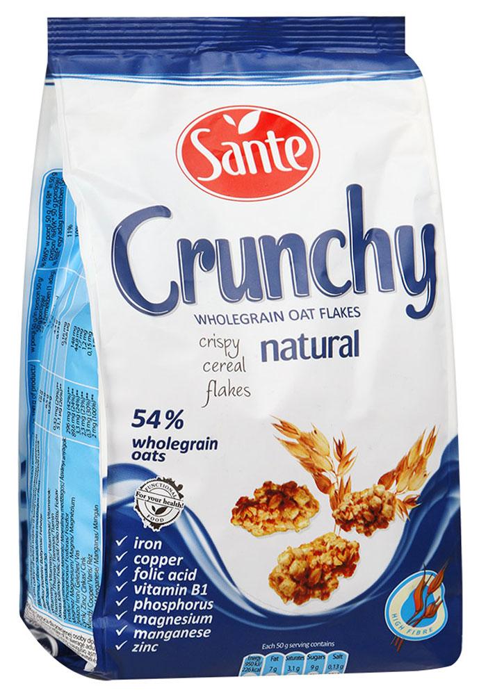 Sante Crunchy хрустящие овсяные хлопья оригинальные, 350 г0120710Хрустящие овсяные хлопья Sante Crunchy - питательная смесь хрустящих, золотистых, нежно обжаренных овсяных хлопьев.Продукт обеспечивает сбалансированное питание за счет полезных ингредиентов: белок, клетчатка, растительные жиры с высоким содержанием полезных жирных кислот, витаминов, микро- и макроэлементов, которые помогают поддерживать энергию и тонус в течение всего дня.Основной элемент Crunchy - это цельнозерновой овес, который имеет более высокую питательную ценность по сравнению с другими злаками, такими как пшеница и рожь.Зерно овса богато белком, незаменимыми аминокислотами (особенно лизином, который отсутствует в других зерновых). Содержание фосфора, меди и фолиевой кислоты способствуют укреплению костей и зубов. Медь также улучшает процесс обмена веществ. А фолиевая кислота способствует правильному функционированию иммунной системы.Уважаемые клиенты! Обращаем ваше внимание, что полный перечень состава продукта представлен на дополнительном изображении.