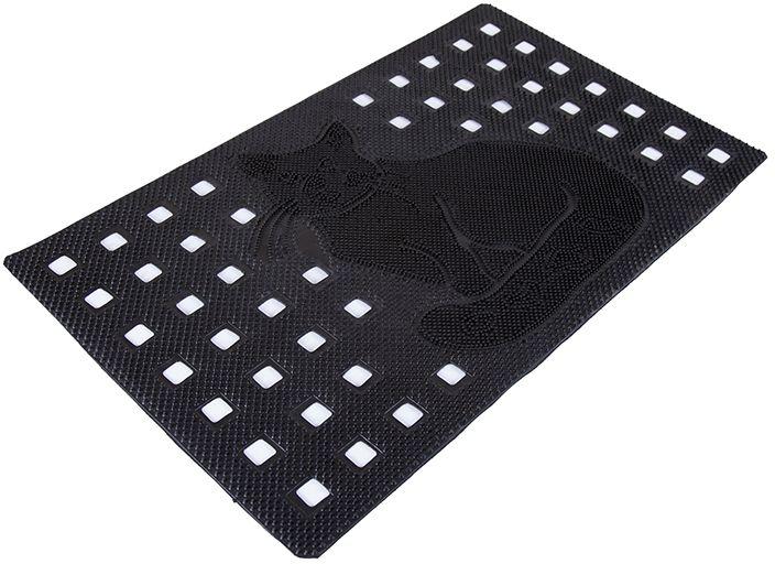 Коврик Sindbad, напольный, цвет: черный, 45 х 75 см. 214018532/серыйКоврик Sindbad изготовлен из прочной резины высокого качества. Коврик легко моется водой. Изделие не меняет цвет со временем, не гниет, что гарантирует долгий срок службы. Коврик имеет сквозные отверстия - ячейки особой формы, что позволяет надежно собирать снег и грязь с обуви и защищать от скольжения.Изделие прекрасно защищает от песка, грязи и пыли.