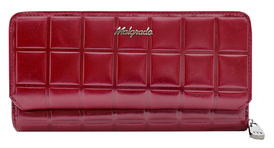 Клатч-кошелек женский Malgrado, цвет: красный. 73001-14502DBM8434-58AEЭлегантный клатч-кошелек Malgrado изготовлен из высококачественной натуральной кожи с декоративным фактурным тиснением, оформлен металлической фурнитурой с символикой бренда.Изделие содержит два отделения. Основное отделение закрывается на застежку-молнию. Внутри расположены: три отделения для купюр, карман для мелочи на застежке-молнии, два кармана для мелких документов, восемь кармашков для визиток и кредитных карт. Вспомогательное отделение закрывается клапаном на кнопку и содержит: десять карманов для кредитных карт и карман для мелких документов. Изделие упаковано в фирменную металлическую коробку.Стильный кошелек не оставит равнодушной ни одну представительницу прекрасной половины человечества.