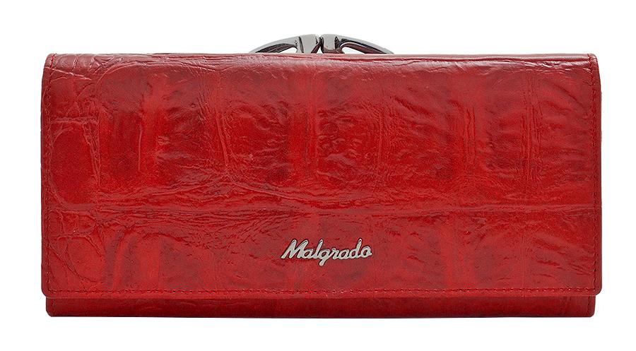 Кошелек женский Malgrado, цвет: красный. 72031-3-29102#1900671-1651Стильный кошелек Malgrado выполнен из натуральной кожи красного цвета с декоративным тиснением под рептилию, застегивается клапаном на кнопку. Внутри содержит девять кармашков для кредитных карт, три отделения для купюр, один кармашек на застежке-молнии. На задней стороне кошелек имеет 2 отделения для мелочи, закрывающиеся металлическим рамочным замком типа ридикюль. Кошелек упакован в подарочную металлическую коробку с логотипом фирмы. Такой кошелек станет замечательным подарком человеку, ценящему качественные и практичные вещи. Характеристики:Материал: натуральная кожа, текстиль, металл. Размер кошелька: 18,5 см х 9 см х 3 см. Цвет: красный. Размер упаковки: 23 см х 13 см х 5 см. Артикул: 72031-3-29102#.
