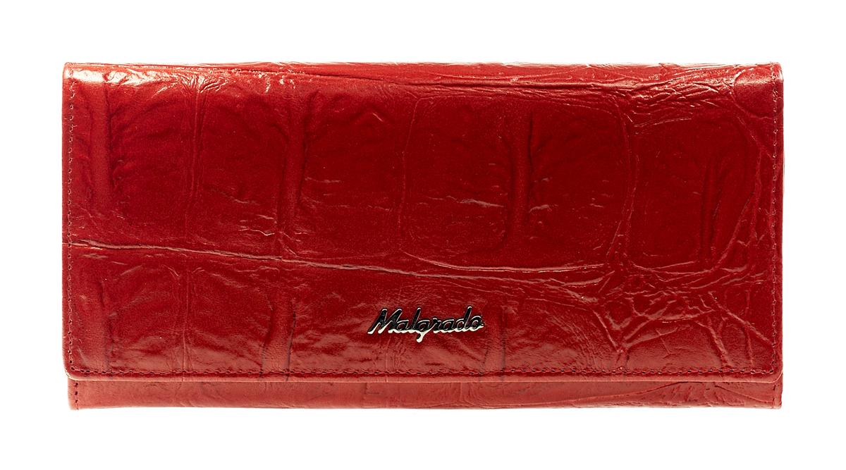 Кошелек Malgrado, цвет: красный. 72076-29102#INT-06501Стильный кошелек Malgrado выполнен из лаковой натуральной кожи красного цвета с декоративным тиснением, застегивается клапаном на кнопку. Внутри содержит один горизонтальный карман для бумаг, девять кармашков для кредитных карт, отделение на замке-защелке для мелочи и четыре отделения для купюр, одно из них на молнии. Кошелек упакован в подарочную металлическую коробку с логотипом фирмы. Такой кошелек станет замечательным подарком человеку, ценящему качественные и практичные вещи. Характеристики:Материал: натуральная кожа, текстиль, металл. Размер кошелька: 18,5 см х 9 см х 2,5 см. Цвет: красный. Размер упаковки: 23 см х 13 см х 4,5 см. Артикул: 72032-3-43702#.