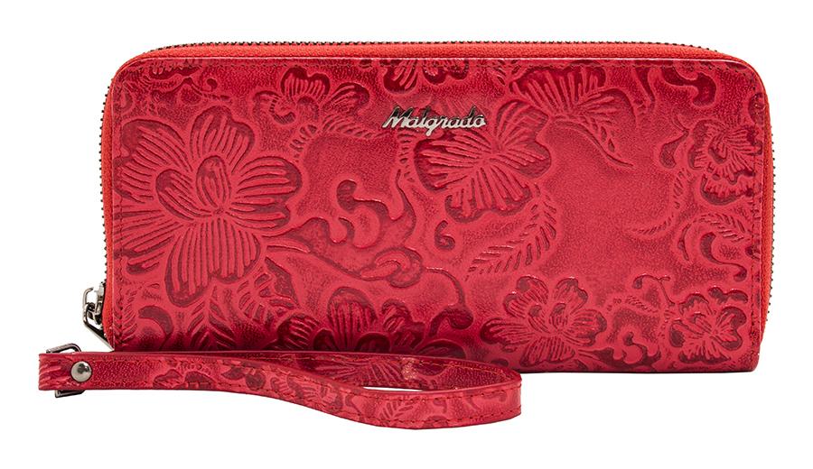 Кошелек женский Malgrado, цвет: красный. 73005-18202#BM8434-58AEСтильный клатч Malgrado изготовлен из натуральной кожи красного цвета с декоративным тиснением в виде цветочков и закрывается на молнию. Внутри расположены четыре основных отделения, одно из которых на молнии, по четыре кармашка на боковых стенках для карточек, визиток, кредиток и два кармашка побольше, в которые можно положить пропуск, проездной билет или фотографию. В комплект так же входит кожаный ремешок для удобной переноски.Клатч упакован в металлическую коробку с логотипом фирмы.Такой кошелек станет замечательным подарком человеку, ценящему качественные и практичные вещи. Характеристики:Материал: натуральная кожа, текстиль, металл. Размер клатча: 19 см х 10 см х 2 см. Цвет: красный. Размер упаковки: 23 см х 13 см х 4,5 см. Артикул: 73005-18202#.