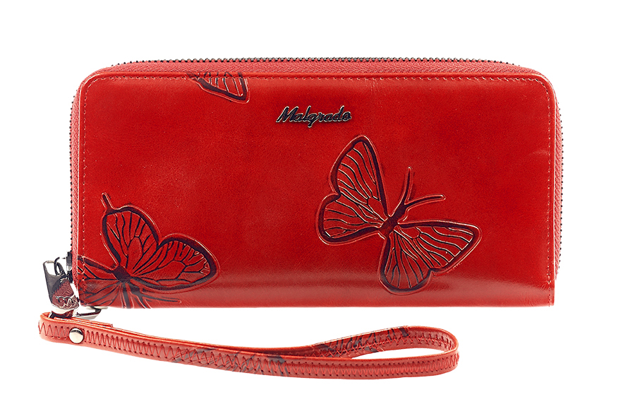 Кошелек женский Malgrado, цвет: красный. 73005-7003DBM8434-58AEСтильный клатч Malgrado изготовлен из натуральной кожи красного цвета с декоративным тиснением в виде бабочек и закрывается на молнию. Внутри расположены четыре основных отделения, одно из которых на молнии, по четыре кармашка на боковых стенках для карточек, визиток, кредиток и два кармашка побольше, в которые можно положить пропуск, проездной билет или фотографию. В комплект так же входит кожаный ремешок для удобной переноски.Клатч упакован в металлическую коробку с логотипом фирмы.Такой кошелек станет замечательным подарком человеку, ценящему качественные и практичные вещи. Характеристики:Материал: натуральная кожа, текстиль, металл. Размер клатча: 19 см х 10 см х 2 см. Цвет: красный. Размер упаковки: 23 см х 13 см х 4,5 см. Артикул: 73005-7003D.