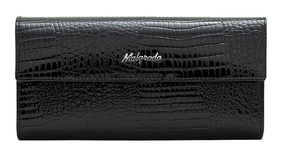 Кошелек женский Malgrado, цвет: черный. 72044-1-4677-080-06Стильный кошелек Malgrado изготовлен из натуральной лакированной кожи с тиснением под рептилию. Лицевая сторона изделия оформлена гравировкой в виде названия бренда.Кошелек закрывается широким клапаном на застежку-кнопку. Внутри расположены три отделения для купюр и отделение для мелочи на защелке. Изюминкой модели является отделение на застежке-кнопке, внутри которого имеются десять прорезных кармашков для пластиковых карт и визиток, кармашек с прозрачным окошком из мягкого пластика и один потайной карман для различных документов и мелких бумаг.Тыльная сторона изделия оформлена прорезным карманом на застежке-молнии.Кошелек упакован в подарочную металлическую коробку с логотипом фирмы.Такой кошелек станет замечательным подарком человеку, ценящему качественные и практичные вещи.