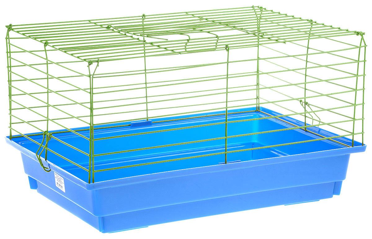 Клетка для кролика ЗооМарк, цвет: синий поддон, зеленая решетка, 50 х 35 х 30 см0120710Классическая клетка ЗооМарк со сплошным дном станет уединенным личным пространством и уютным домиком для кролика. Изделие выполнено из металла и пластика. Клетка надежно закрывается на защелки. Легко чистится. Для более удобной транспортировки клетку можно сложить.