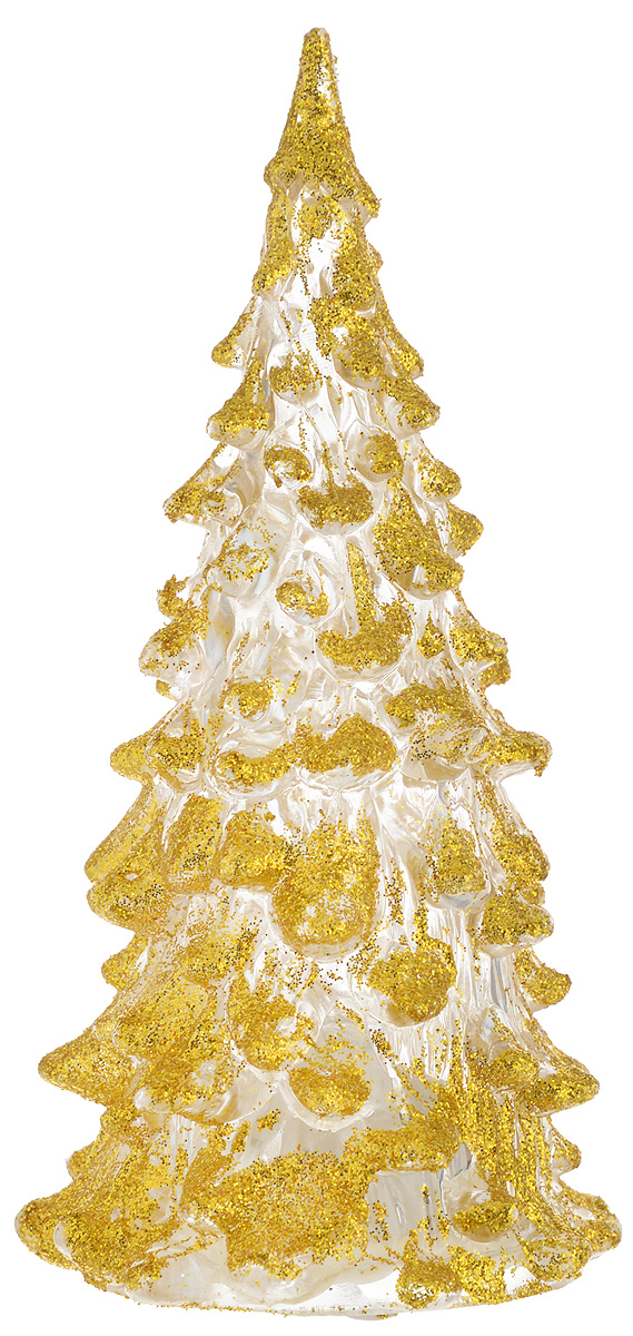 Фигурка декоративная B&H Елочка, светящаяся, цвет: золотистый, прозрачный, высота 12 см74903Фигурка декоративная B&H изготовлена из акрила в виде нарядной новогодней елочки и декорирована цветными сверкающими блестками. Изделие снабжено светодиодом, который меняет цвет и горит в разных режимах. Тумблер включения расположен на дне фигурки. Создайте в своем доме атмосферу веселья и радости, украшая его к Новому году. Откройте для себя удивительный мир сказок и грез. Почувствуйте волшебные минуты ожидания праздника, создайте новогоднее настроение вашим родным и близким. Изделие работает от 3 батареек типа AG10 (входят в комплект).