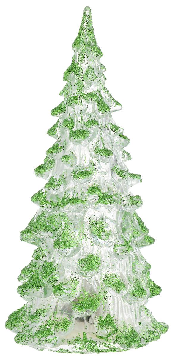 Фигурка декоративная B&H Елочка, светящаяся, цвет: зеленый, прозрачный, высота 12 см41662Фигурка декоративная B&H изготовлена из акрила в виде нарядной новогодней елочки и декорирована цветными сверкающими блестками. Изделие снабжено светодиодом, который меняет цвет и горит в разных режимах. Тумблер включения расположен на дне фигурки. Создайте в своем доме атмосферу веселья и радости, украшая его к Новому году. Откройте для себя удивительный мир сказок и грез. Почувствуйте волшебные минуты ожидания праздника, создайте новогоднее настроение вашим родным и близким. Изделие работает от 3 батареек типа AG10 (входят в комплект).