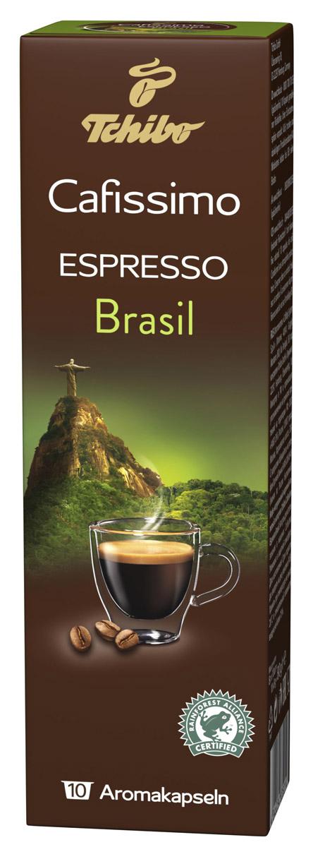 Cafissimo Espresso Brasil кофе в капсулах, 10 шт0120710Натуральный кофе в капсулах Cafissimo Espresso Brasil имеет вкус гармоничного эспрессо. Зерна медленно созревают на солнечных бразильских горных склонах и дарят эспрессо слегка горький и сладкий аромат с нотками ореха. Традиционная итальянская обжарка полностью раскрывает вкус.