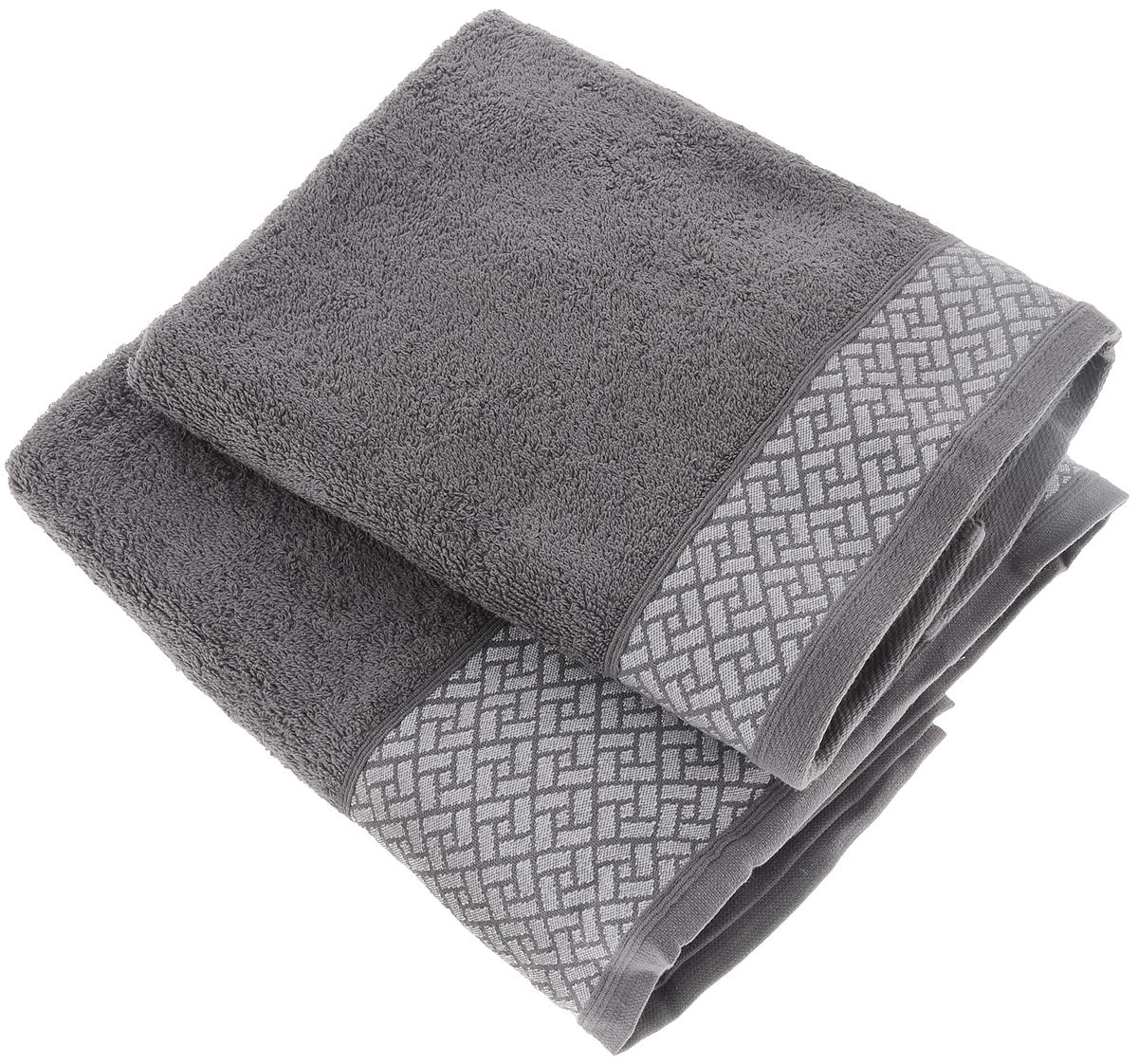 Набор полотенец Tete-a-Tete Лабиринт, цвет: серый, 50 х 90 см, 2 шт391602Набор Tete-a-Tete Лабиринт состоит из двух махровых полотенец, выполненных из натурального 100% хлопка. Бордюр полотенец декорирован геометрическим узором. Изделия мягкие, отлично впитывают влагу, быстро сохнут, сохраняют яркость цвета и не теряют форму даже после многократных стирок. Полотенца Tete-a-Tete Лабиринт очень практичны и неприхотливы в уходе. Они легко впишутся в любой интерьер благодаря своей нежной цветовой гамме. Набор упакован в красивую коробку и может послужить отличной идеей для подарка.Размер полотенец: 50 х 90 см.