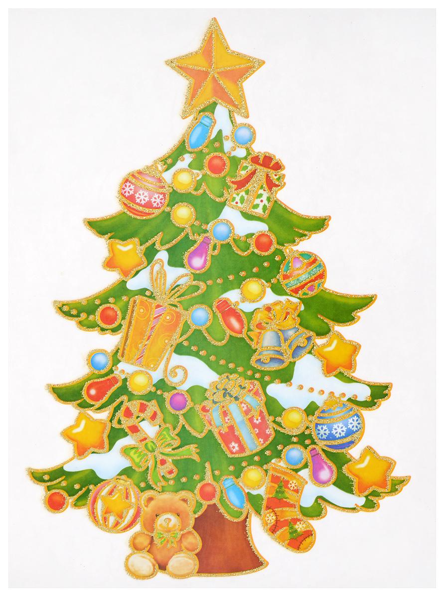 Новогоднее оконное украшение Winter Wings Ёлка, 20 х 26 см наклейки на окна наклейка панно новый год гелевая 20 20 см winter wings