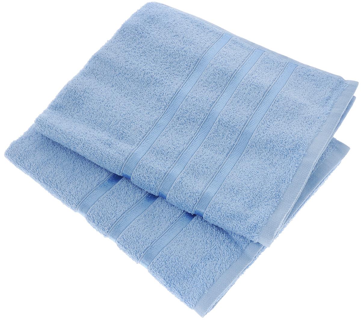Набор полотенец Tete-a-Tete Ленты, цвет: голубой, 50 х 85 см, 2 шт391602Набор Tete-a-Tete Ленты состоит из двух махровых полотенец, выполненных из натурального 100% хлопка. Бордюр полотенец декорирован лентами. Изделия мягкие, отлично впитывают влагу, быстро сохнут, сохраняют яркость цвета и не теряют форму даже после многократных стирок. Полотенца Tete-a-Tete Ленты очень практичны и неприхотливы в уходе. Они легко впишутся в любой интерьер благодаря своей нежной цветовой гамме. Набор упакован в красивую коробку и может послужить отличной идеей для подарка.Размер полотенец: 50 х 85 см.