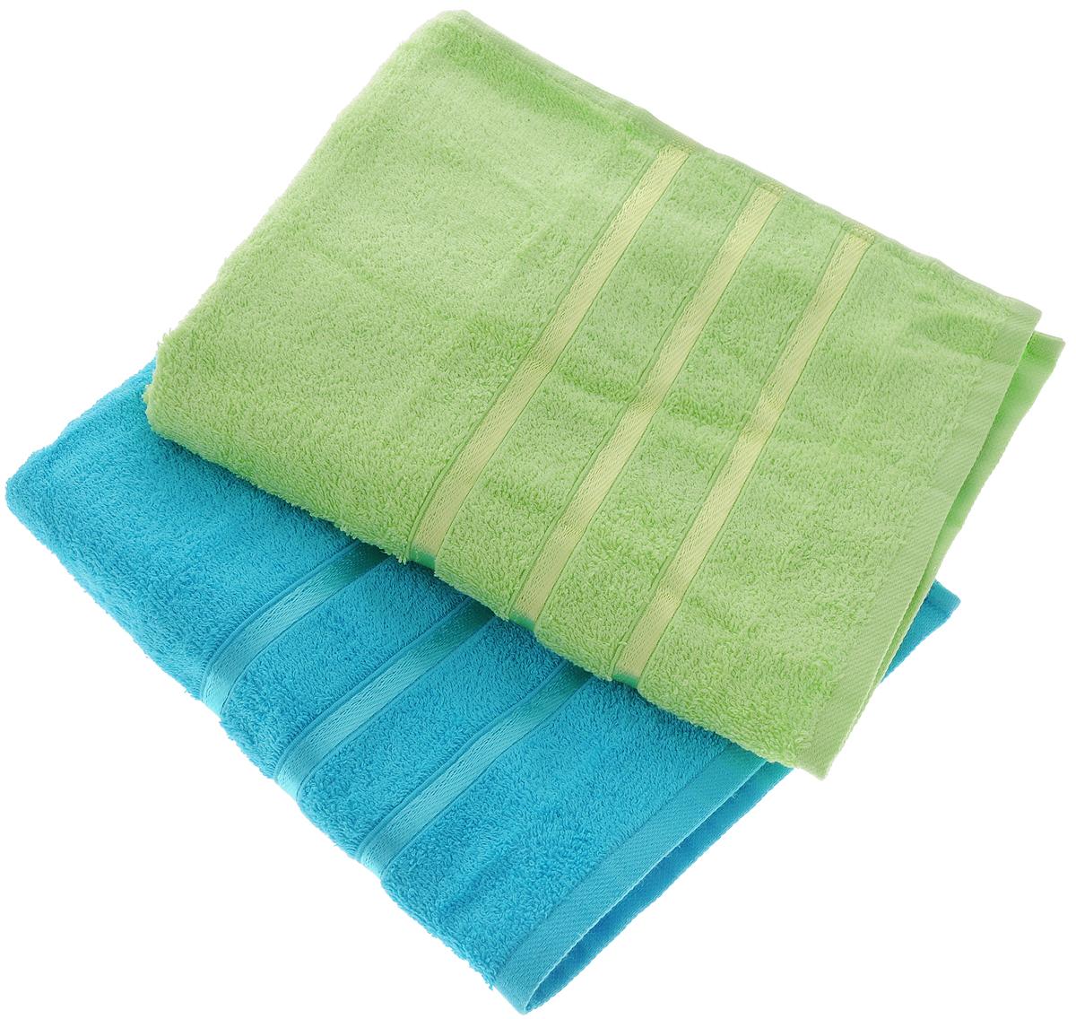 Набор полотенец Tete-a-Tete Ленты, цвет: зеленый, бирюзовый, 50 х 85 см, 2 шт68/5/3Набор Tete-a-tete Ленты состоит из двух махровых полотенец, выполненных из натурального 100% хлопка. Бордюр полотенец декорирован лентами. Изделия мягкие, отлично впитывают влагу, быстро сохнут, сохраняют яркость цвета и не теряют форму даже после многократных стирок. Полотенца Tete-a-tete Ленты очень практичны и неприхотливы в уходе. Они легко впишутся в любой интерьер благодаря своей нежной цветовой гамме. Набор упакован в красивую коробку и может послужить отличной идеей для подарка.Размер полотенец: 50 х 85 см.