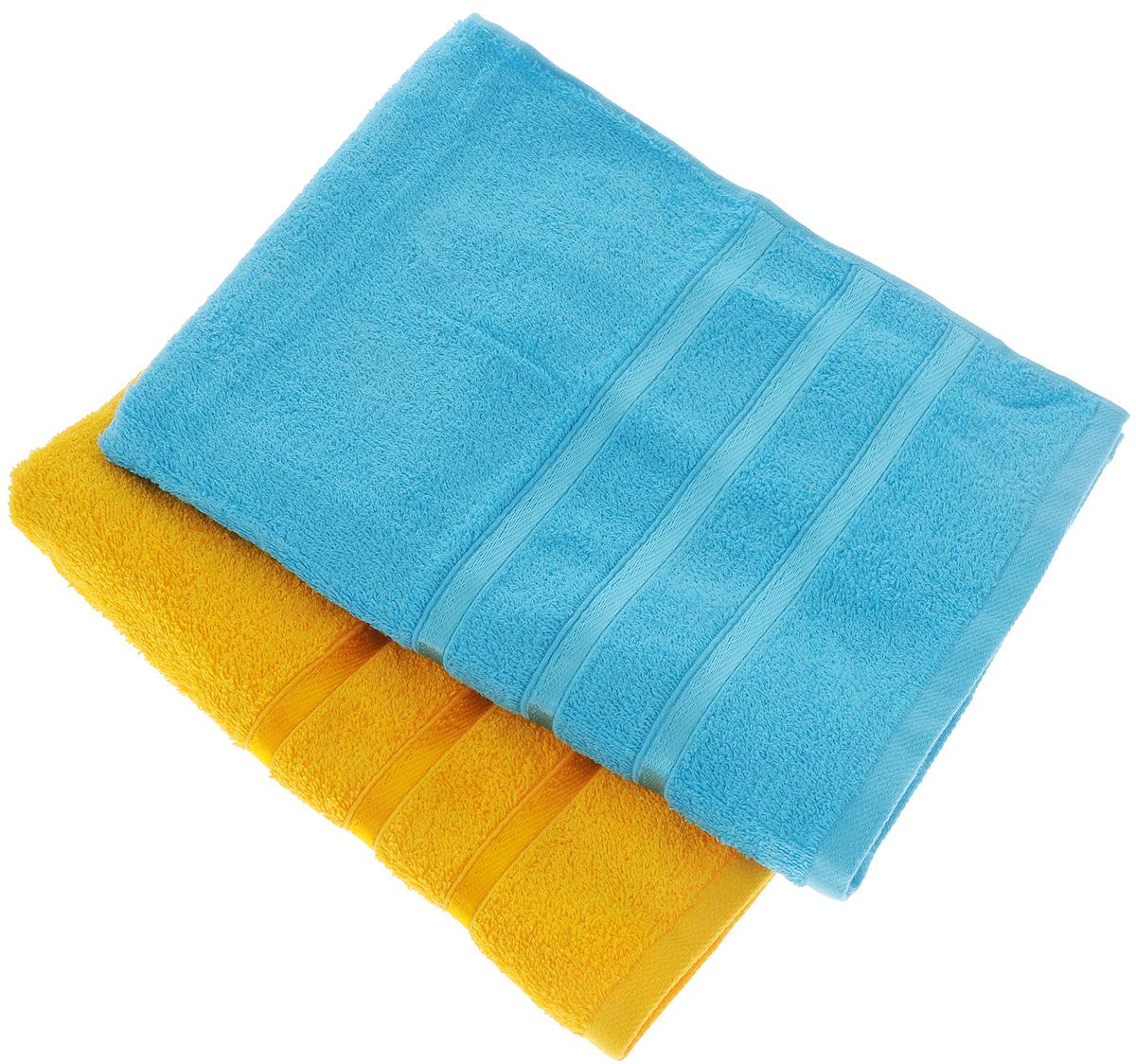 Набор полотенец Tete-a-Tete Ленты, цвет: желтый, бирюзовый, 50 х 85 см, 2 шт97775318Набор Tete-a-Tete Ленты состоит из двух махровых полотенец, выполненных из натурального 100% хлопка. Бордюр полотенец декорирован лентами. Изделия мягкие, отлично впитывают влагу, быстро сохнут, сохраняют яркость цвета и не теряют форму даже после многократных стирок. Полотенца Tete-a-Tete Ленты очень практичны и неприхотливы в уходе. Они легко впишутся в любой интерьер благодаря своей нежной цветовой гамме. Набор упакован в красивую коробку и может послужить отличной идеей подарка.Размер полотенец: 50 х 85 см.