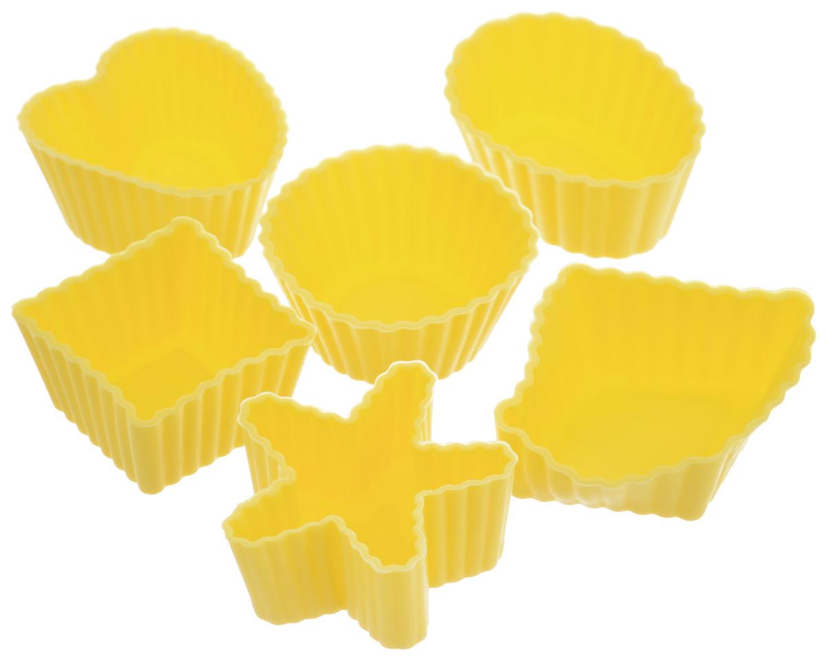 Набор форм для выпечки LaSella, цвет: желтый, 6 шт54 009312Набор LaSella состоит из шести форм, выполненных из силикона с рельефными стенками. Изделия предназначены для выпечки и заморозки. Формочки выполнены в виде круга, овала, звезды, квадрата и сердца.Силиконовые формы для выпечки имеют много преимуществ по сравнению с традиционными металлическими формами и противнями. Они идеально подходят для использования в микроволновых, газовых и электрических печах при температурах до +210°С. В случае заморозки до -40°С. Благодаря гибкости и антипригарным свойствам силикона, готовое изделие легко извлекается из формы. Силикон абсолютно безвреден для здоровья, не впитывает запахи, не оставляет пятен, легко моется. С таким набором LaSella вы всегда сможете порадовать своих близких оригинальной выпечкой.