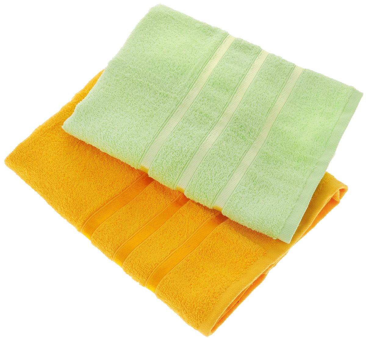 Набор полотенец Tete-a-Tete Ленты, цвет: желтый, зеленый, 50 х 85 см, 2 шт97775318Набор Tete-a-Tete Ленты состоит из двух махровых полотенец, выполненных из натурального 100% хлопка. Бордюр полотенец декорирован лентами. Изделия мягкие, отлично впитывают влагу, быстро сохнут, сохраняют яркость цвета и не теряют форму даже после многократных стирок. Полотенца Tete-a-Tete Ленты очень практичны и неприхотливы в уходе. Они легко впишутся в любой интерьер благодаря своей нежной цветовой гамме. Набор упакован в красивую коробку и может послужить отличной идеей подарка.Размер полотенец: 50 х 85 см.