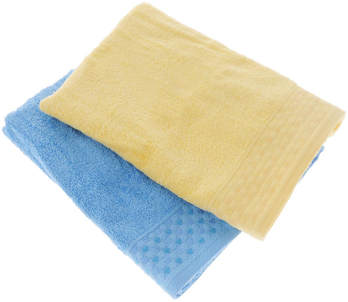 Набор полотенец Tete-a-Tete Сердечки, цвет: голубой, желтый, 50 х 90 см, 2 шт1004900000360Набор Tete-a-Tete Сердечки состоит из двух махровых полотенец, выполненных из натурального 100% хлопка. Бордюр полотенец декорирован рисунком сердечек. Изделия мягкие, отлично впитывают влагу, быстро сохнут, сохраняют яркость цвета и не теряют форму даже после многократных стирок. Полотенца Tete-a-Tete Сердечки очень практичны и неприхотливы в уходе. Они легко впишутся в любой интерьер благодаря своей нежной цветовой гамме. Набор упакован в красивую коробку и может послужить отличной идеей для подарка.Размер полотенец: 50 х 90 см.