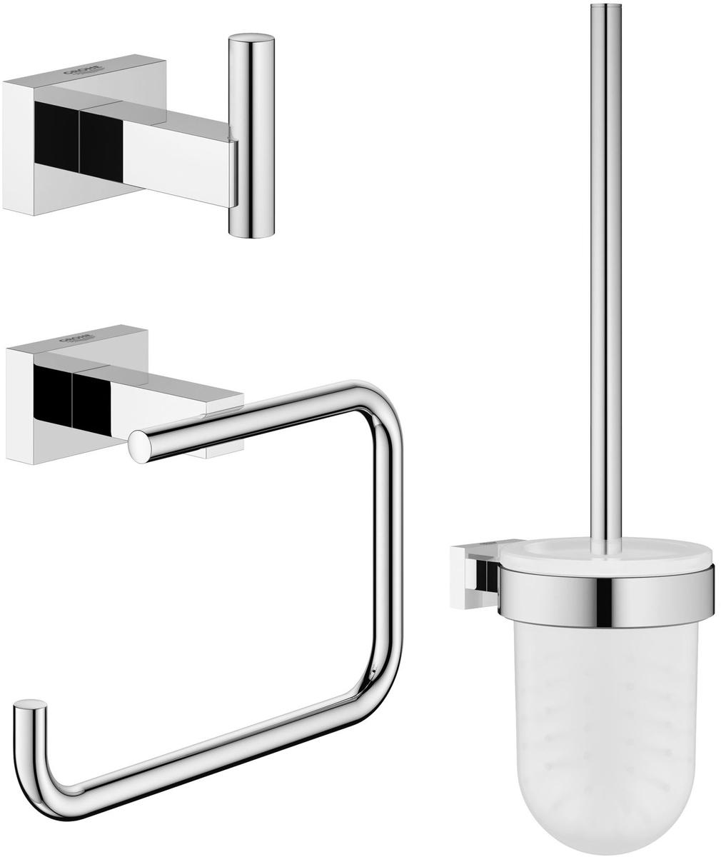Набор аксессуаров для ванной комнаты Grohe Essentials Cube, 3 предмета41619Набор аксессуаров для ванной комнаты Grohe Essentials Cube включает ершик с подставкой и держателем, крючок для банного халата и держатель для туалетной бумаги. Изделия выполнены из латуни с хромированным покрытием. Благодаря специальной технологии Grohe StarLight покрытие обеспечивает сияющий блеск на протяжении всего срока службы. Кроме того, оно отталкивает грязь, не тускнеет и обладает высокой степенью износостойкости. Все предметы крепятся к стене (крепежные элементы поставляются в комплекте). Благодаря неизменно актуальному дизайну и долговечному хромированному покрытию, такой набор отлично дополнит интерьер ванной комнаты, воплощая собой изысканный стиль и превосходное качество. Длина ершика (с ручкой): 37 см. Длина щетины: 2 см. Размер подставки для ершика: 9,5 х 9,5 х 13,5 см. Размер держателя для туалетной бумаги: 13,5 х 10 х 6 см. Размер крючка для банного халата: 4 х 6 х 4 см.