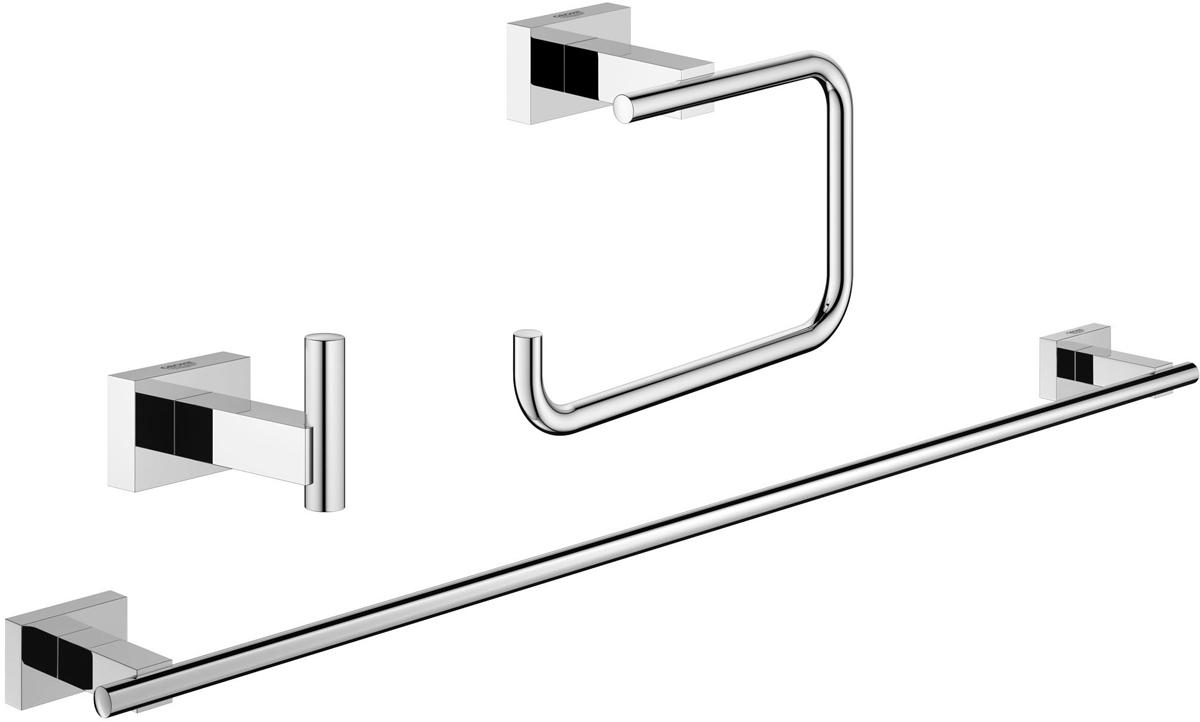 Набор аксессуаров для ванной Grohe Essentials Cube, 3 предмета68/5/3Набор аксессуаров для ванной Grohe Essentials Cube, изготовленный из латуни, состоит из крючка для халата, держателя для туалетной бумаги (с крышкой) и держателя для полотенца. Этот комплект аксессуаров станет идеальным выбором для вашей ванной комнаты. Все детали комплекта выполнены в дизайне, который не устареет со временем, а также покорит вас качеством исполнения. Изделия изготовлены с нанесением износостойкого покрытия Grohe StarLight®, устойчивого к царапинам и загрязнению. Покрытие, выполненное по специальным технологиям, придает изделию сияющий вид. Аксессуары крепятся к стене при помощи шурупов, входящих в комплект.