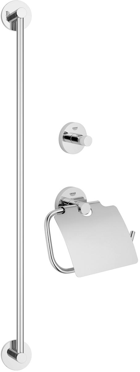 Набор аксессуаров для ванной комнаты Grohe Essentials, 3 предмета. 4077500168/5/2Набор аксессуаров для ванной комнаты Grohe Essentials включает держатель для банного полотенца, крючок для банного халата и держатель для туалетной бумаги с козырьком. Изделия выполнены из латуни с хромированным покрытием. Благодаря специальной технологии Grohe StarLight покрытие обеспечивает сияющий блеск на протяжении всего срока службы. Кроме того, оно отталкивает грязь, не тускнеет и обладает высокой степенью износостойкости. Все предметы крепятся к стене (крепежные элементы поставляются в комплекте). Благодаря неизменно актуальному дизайну и долговечному хромированному покрытию, такой набор отлично дополнит интерьер ванной комнаты, воплощая собой изысканный стиль и превосходное качество. Размер держателя для туалетной бумаги: 17 х 4,5 х 14 см. Размер крючка для банного халата: 5,5 х 4,5 х 5,5 см. Длина держателя для банного полотенца: 65 см.