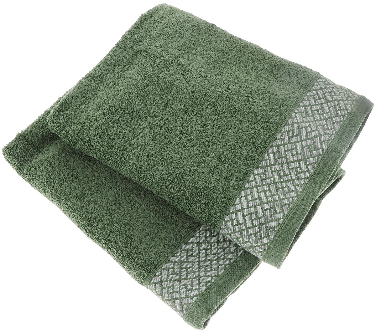Набор полотенец Tete-a-Tete Лабиринт, цвет: зеленый, 50 х 90 см, 2 штУП-002-01кНабор Tete-a-Tete Лабиринт состоит из двух махровых полотенец, выполненных из натурального 100% хлопка. Бордюр полотенец декорирован геометрическим узором. Изделия мягкие, отлично впитывают влагу, быстро сохнут, сохраняют яркость цвета и не теряют форму даже после многократных стирок. Полотенца Tete-a-Tete Лабиринт очень практичны и неприхотливы в уходе. Они легко впишутся в любой интерьер благодаря своей нежной цветовой гамме. Набор упакован в красивую коробку и может послужить отличной идеей для подарка.Размер полотенец: 50 х 90 см.