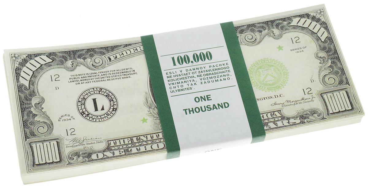 Сувенирные деньги Эврика Забавная пачка 1000 долларов28907 4Сувенирные деньги Эврика Забавная пачка 1000 долларов наверняка удивит, а потом рассмешит каждого человека с хорошим чувством юмора! Сувенирные деньги подходят для выкупа невесты - это то, что нужно, ведь они имеют банковскую ленту и выполнены в отличном качестве печати. Внимательный человек, правда, вас сразу рассекретит, так как на купюрах есть надпись: Не является платежным средством. Не рекомендуем демонстративно показывать пачку муляжных денег в местах большого скопления людей, чтоб не привлечь к себе внимание людей с сомнительной репутацией. Также не стоит дарить сувенирные деньги сотрудниками ГАИ и налоговой инспекцией, они ведь тоже люди.Размер одной купюры: 6 х 15,1 см.Количество листов в пачке не нормировано, в пачке от 80 до 100 купюр.