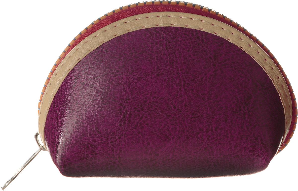 Монетница женская Cheribags, цвет: пурпурный. 04К-1-19INT-06501Монетница Cheribags выполнена из натуральной текстурной кожи и оформлено декоративной нашивкой вдоль молнии. Внутри расположено отделение для монет. Изделие закрывается на застежку-молнию.