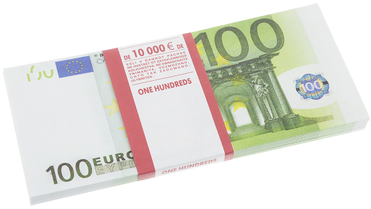 Сувенирные деньги Эврика Забавная пачка 100 евро90108Сувенирные деньги Эврика Забавная пачка 100 евро наверняка удивит, а потом рассмешит каждого человека с хорошим чувством юмора! Сувенирные деньги подходят для выкупа невесты - это то, что нужно, ведь они имеют банковскую ленту и выполнены в отличном качестве печати. Внимательный человек, правда, вас сразу рассекретит, так как на купюрах есть надпись: Не является платежным средством и Сувенирная продукция. Не рекомендуем демонстративно показывать пачку муляжных денег в местах большого скопления людей, чтоб не привлечь к себе внимание людей с сомнительной репутацией. Также не стоит дарить сувенирные деньги сотрудниками ГАИ и налоговой инспекцией, они ведь тоже люди.Размер одной купюры: 6,7 х 15,6 см.Количество листов в пачке не нормировано, в пачке от 80 до 100 купюр.