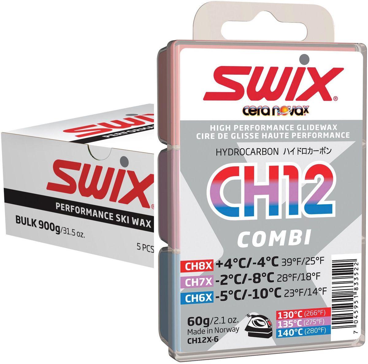 Набор мазей скольжения Swix CH12X Combi Nordic: CH4X, CH6X, CH7X, CH8X, CH10X, по 180 г3B287Содержит: 2 x 180 г CHX5, 1 x 180 гCHX6, CHX7 и CHX8.CH05X-6Температурный диапазон от -8°C до-14°С.Рекомендуемая температура утюга 150°С.Серия 5 является новой в линии Cera Nova X, и заполняет разрыв по твердости между 4-й и 6-й категориями мазей. Легче наносится, чем мази 4й серии, и обеспечивает прекрасные свойства скольжения в пределах своего темпера турного диапазона. Обладает высокой износоустойчивостью. Может использоваться самостоятельно в качестве гоночной мази, но чаще всего служит базовым слоем под порошок FC05X.CH06X-6Температурный диапазон от -5°C до-10°С.Рекомендуемая температура утюга 145°С.Стандартная мазь CH6 была успешной в старой системе Cera Nova, и продолжила свое существование в мази CH06X новой системы. Бюджетная мазь для гонок и тренировок с прекрасными рабочими характеристиками. Также может использоваться в качестве мази для базовой подготовки холодных лыж. CH06X имеет высокую износоустойчивость и показывает прекрасные рабочие характеристики на искусственному снегу и в условиях ледника.CH07X-6Температурный диапазон от -2°C до -8°С.Рекомендуемая температура утюга 140°С.Новая и улучшенная мазь, универсальная, подходит для нормальных зимних кондиций ниже точки замерзания. Твердая концистенция этой мази делает ее удобной в работе по нанесению на скользящую поверхность для того, чтобы получить хороший конечный результат. Бюджетная мазь для гонок и тренировок с прекрасными рабочими характеристиками. Также может использоваться в качестве универсальной мази для базовой подготовки.CH08X-6Температурный диапазон от +4°C до-4°С.Рекомендуемая температура утюга 130°С.Продолжение стандартной мази CH8. Бюджетная мазь для гонок и тренировок с прекрасными рабочими характеристиками. Также может использоваться в качестве мази для базовой подготовки теплых лыж. отличная мазь как для базовой подготовки лыж, так и для тренировок. Легко плавится и удобна в работе.