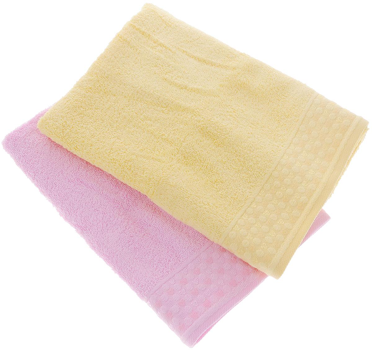 Набор полотенец Tete-a-Tete Сердечки, цвет: розовый, желтый, 50 х 90 см, 2 шт391602Набор Tete-a-Tete Сердечки состоит из двух махровых полотенец, выполненных из натурального 100% хлопка. Бордюр полотенец декорирован рисунком сердечек. Изделия мягкие, отлично впитывают влагу, быстро сохнут, сохраняют яркость цвета и не теряют форму даже после многократных стирок. Полотенца Tete-a-Tete Сердечки очень практичны и неприхотливы в уходе. Они легко впишутся в любой интерьер благодаря своей нежной цветовой гамме. Набор упакован в красивую коробку и может послужить отличной идеей для подарка.Размер полотенец: 50 х 90 см.