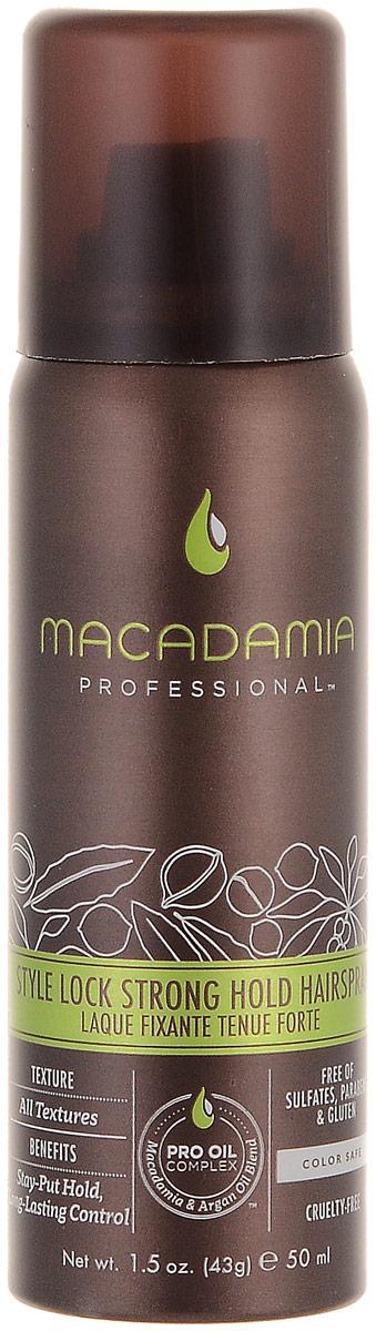 Macadamia Professional Спрей сильной фиксации Стиль на замке, 43 гр81614953Невесомый спрей сильной фиксации Macadamia Professional с витамином В5 специально разработан для сохранения укладки на целый день, контролирует пушистость и сохранение формы. Эксклюзивный Pro Oil Complex на основе драгоценных масел макадамии и арганы увлажняет, восстанавливает, добавляет волосам здоровый блеск, упругость и управляемость, сохраняет цвет окрашенных волос.