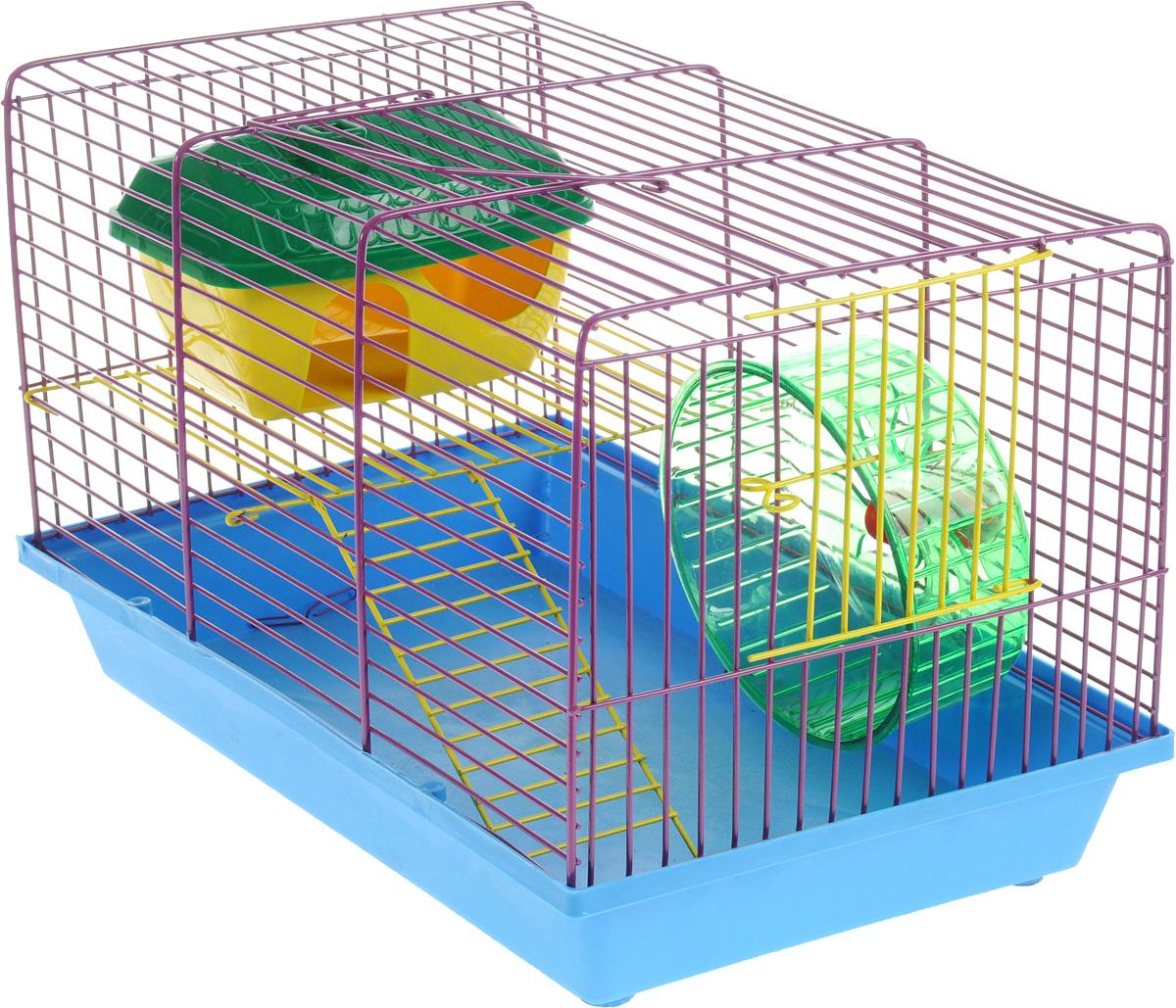 Клетка для грызунов ЗооМарк, 2-этажная, цвет: синий поддон, фиолетовая решетка, 36 х 22 х 24 см0120710Клетка ЗооМарк, выполненная из полипропилена и металла, подходит для мелких грызунов. Изделие двухэтажное, оборудовано колесом для подвижных игр и пластиковым домиком. Клетка имеет яркий поддон, удобна в использовании и легко чистится. Сверху имеется ручка для переноски, а сбоку удобная дверца. Такая клетка станет уединенным личным пространством и уютным домиком для маленького грызуна.