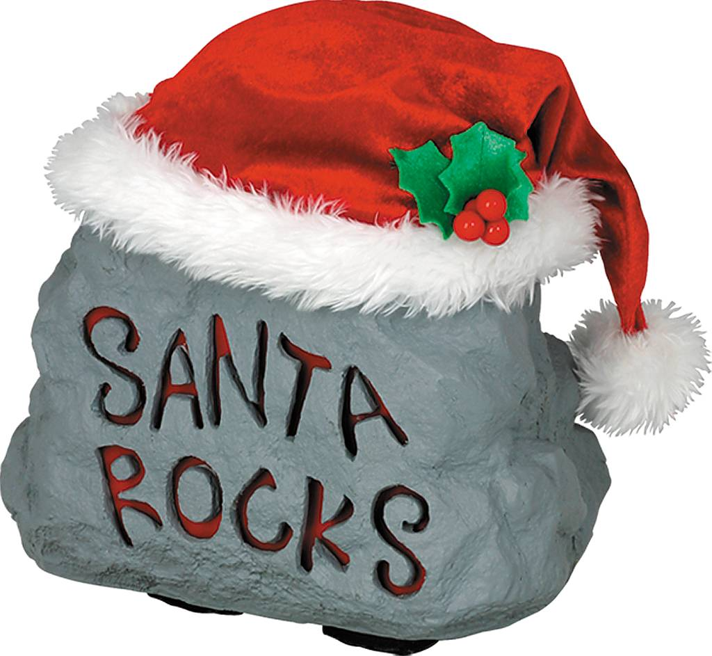 Игрушка новогодняя Mister Christmas Пляшущий камень, электромеханическая, высота 22 см17206Традиция оставлять камни у порога гостеприимного дома пришла к нам из Греции: чем больше камень, тем добрее пожелания гостей. Новогодняя музыкальная игрушка Mister Christmas Пляшущий камень послужит пожеланием большого богатства и непременного благополучия.Внешний вид сувенира весьма незатейлив. Это серый камень, выполненный из полимера, с надписью Santa rocks. На камень надет красный рождественский колпак с тремя ягодками брусники и белой опушкой. При нажатии на колпак камень начинает подпрыгивать в такт песни Элвиса Пресли Lock Around The Clock. Надпись на камне при этом подсвечивается неярким красным светом. Несмотря на столь ритмичные движения, механизм игрушки прослужит очень и очень долго. Все материалы, входящие в состав сувенира, прошли тщательные проверки и отличаются высочайшим качеством. Так же стоит отметить и то, что все материалы экологичны и безопасны. Сувенир упакован в подарочную коробку, что позволяет не беспокоиться о красивом преподнесении подарка. Работает от батареек (входят в комплект). Собираясь на празднование Нового года, прихватите с собой новогоднюю музыкальную игрушку Mister Christmas Пляшущий камень, ведь это подарок, который говорит сам за себя!Высота игрушки: 22 см.