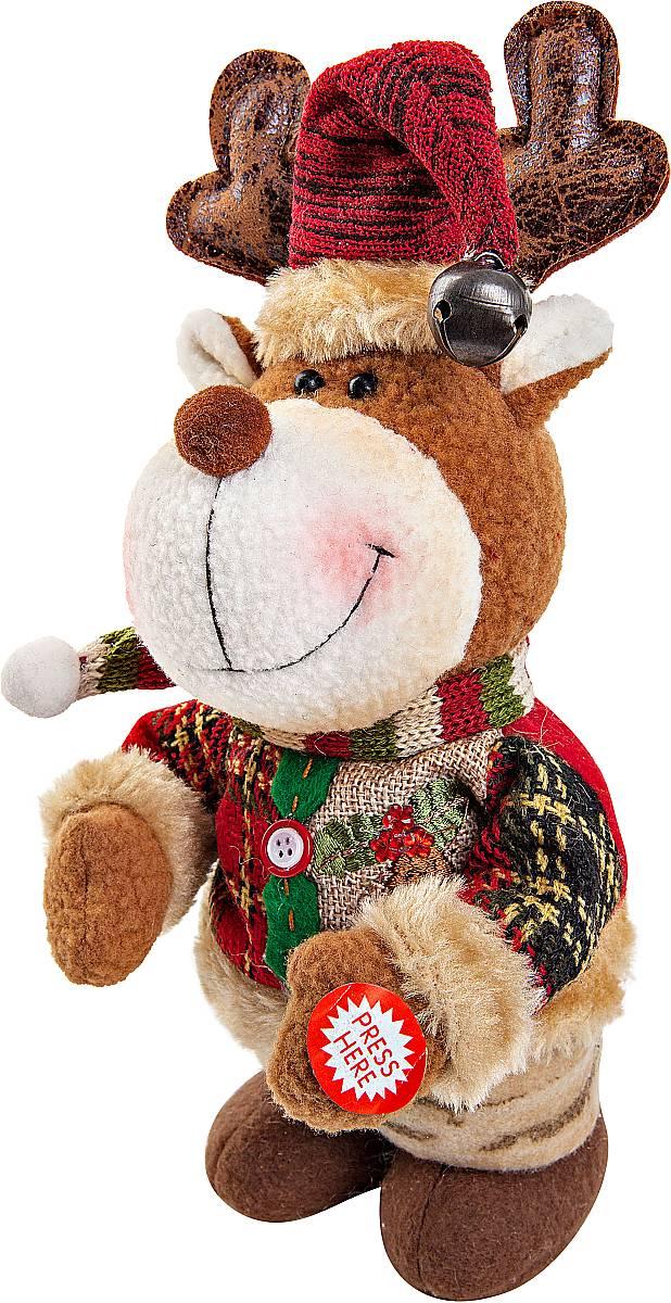 Игрушка новогодняя Mister Christmas Олень, электромеханическая, высота 33 смBZ005-7-43Новогодняя пляшущая и поющая игрушка Mister Christmas Олень послужит оригинальным подарком в преддверии Нового года.Внешний вид сувенира весьма незатейлив. Изделие выполнено в виде оленя и дополнено колпаком с бубенчиком. При нажатии игрушка начинает двигаться в такт песни (PSY - Gangnam Style). Несмотря на столь ритмичные движения, механизм игрушки прослужит очень и очень долго. Все материалы, входящие в состав игрушки, прошли тщательные проверки и отличаются высочайшим качеством. Так же стоит отметить и то, что все материалы экологичны и безопасны. Работает от батареек (входят в комплект). Собираясь на празднование Нового года, прихватите с собой новогоднюю музыкальную игрушку Mister Christmas Олень, ведь это подарок, который говорит сам за себя!Высота игрушки: 33 см.
