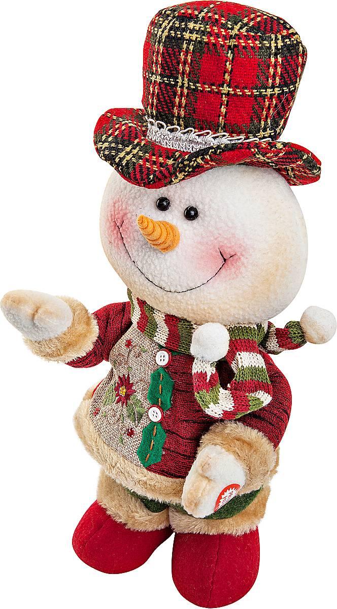 Игрушка новогодняя Mister Christmas Снеговик, электромеханическая, высота 33 смNLED-454-9W-BKНовогодняя пляшущая и поющая игрушка Mister Christmas Снеговик послужит оригинальным подарком в преддверии Нового года.Внешний вид сувенира весьма незатейлив. Изделие выполнено в виде снеговика и дополнено шляпой. При нажатии игрушка начинает двигаться в такт песни (PSY - Gangnam Style). Несмотря на столь ритмичные движения, механизм игрушки прослужит очень и очень долго. Все материалы, входящие в состав игрушки, прошли тщательные проверки и отличаются высочайшим качеством. Так же стоит отметить и то, что все материалы экологичны и безопасны. Работает от батареек (входят в комплект). Собираясь на празднование Нового года, прихватите с собой новогоднюю музыкальную игрушку Mister Christmas Снеговик, ведь это подарок, который говорит сам за себя!Высота игрушки: 33 см.