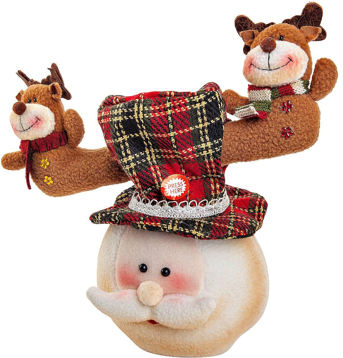Игрушка новогодняя Mister Christmas Дед Мороз, электромеханическая, высота 30 смLH-F2-SET/4Новогодняя пляшущая и поющая игрушка Mister Christmas Дед Мороз послужит оригинальным подарком в преддверии Нового года.Внешний вид сувенира весьма незатейлив. Изделие выполнено в виде головы Деда Мороза с колпаком, дополнением служат рога с фигурами оленей. При нажатии на эти рожки игрушка начинает двигаться в такт песни. Несмотря на столь ритмичные движения, механизм игрушки прослужит очень и очень долго. Все материалы, входящие в состав игрушки, прошли тщательные проверки и отличаются высочайшим качеством. Так же стоит отметить и то, что все материалы экологичны и безопасны. Работает от батареек (входят в комплект). Собираясь на празднование Нового года, прихватите с собой новогоднюю музыкальную игрушку Mister Christmas Дед Мороз, ведь это подарок, который говорит сам за себя!Высота игрушки: 30 см.