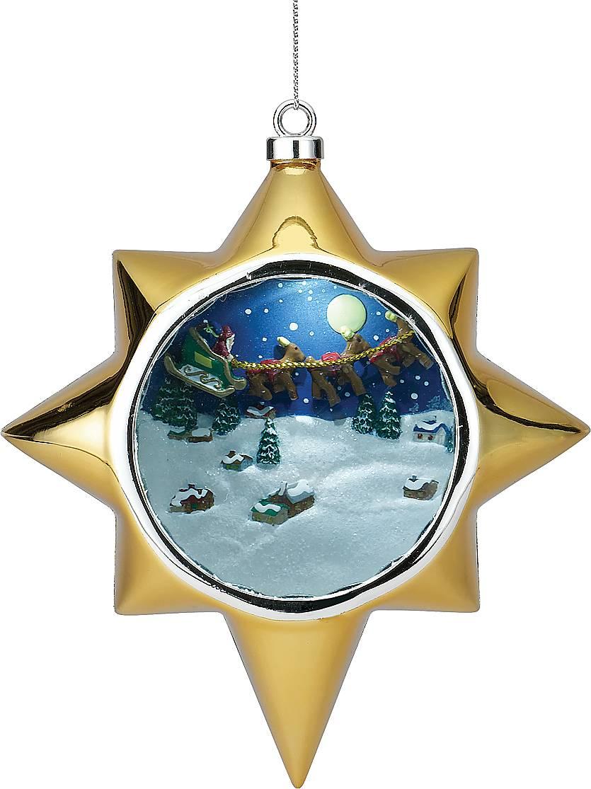 Украшение новогоднее Mister Christmas Дед Мороз, музыкальное, высота 13 смUS 661211Украшение в виде звезды Mister Christmas Дед Мороз выглядит как обычная елочная игрушка. Но, стоит взмахнуть волшебной палочкой, которая идет в комплект, как она открывает вам свой Рождественский секрет! Заснеженный лес, с летящими в воздухе санями Деда Мороза - чудесная картинка, открывающаяся обладателю заветной волшебной палочки! Такие сувениры станут прекрасным украшением новогодней елки, и не оставят равнодушными ни взрослых, ни уж тем более, детишек! Проигрываются 15 рождественских мелодий.Высота украшения: 13 см.